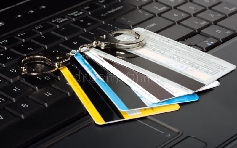 Cartão de crédito das algemas fotos de stock royalty free