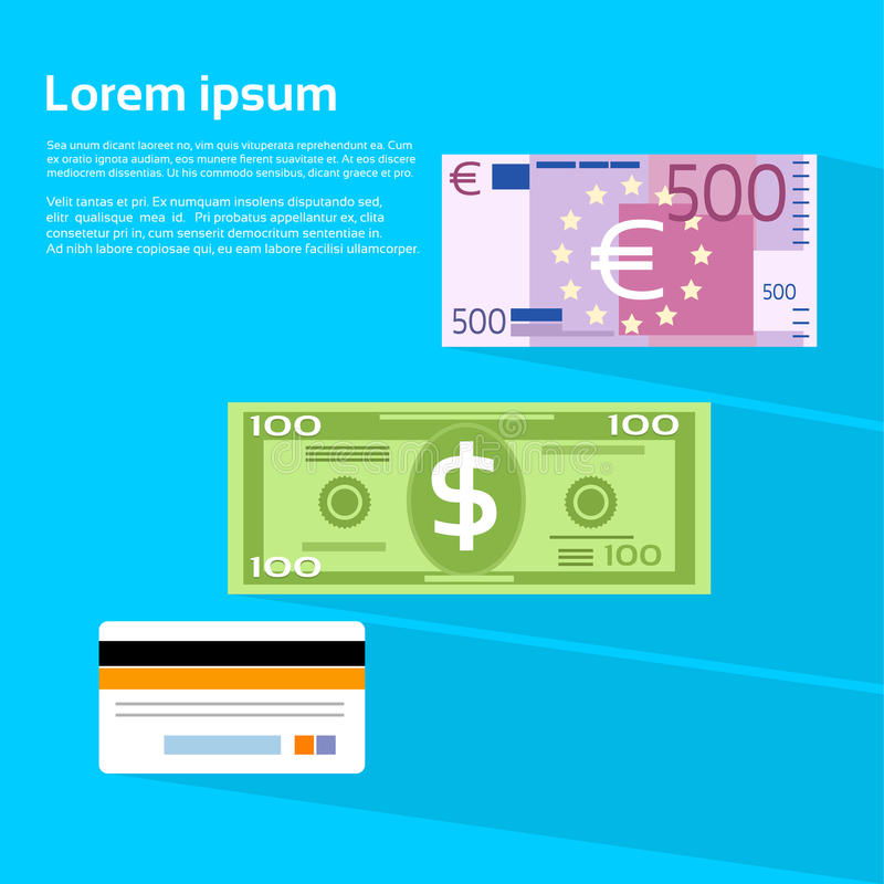 Cartão de crédito do Euro do dólar da cédula do dinheiro da moeda ilustração do vetor