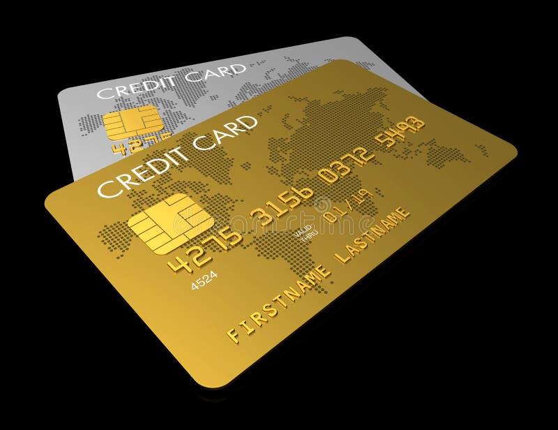 Cartão de crédito do ouro e da prata ilustração stock