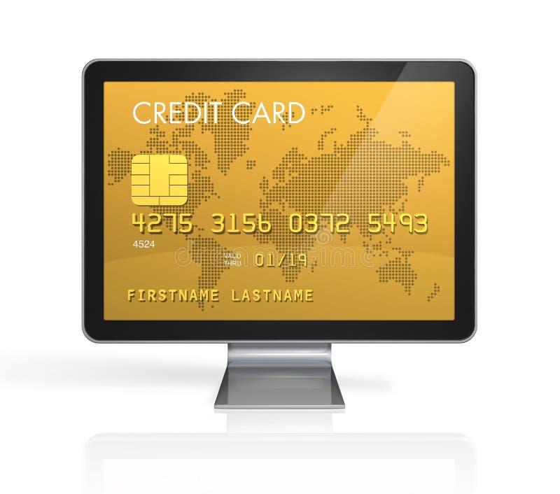 Cartão de crédito do ouro em um ecrã de computador ilustração do vetor