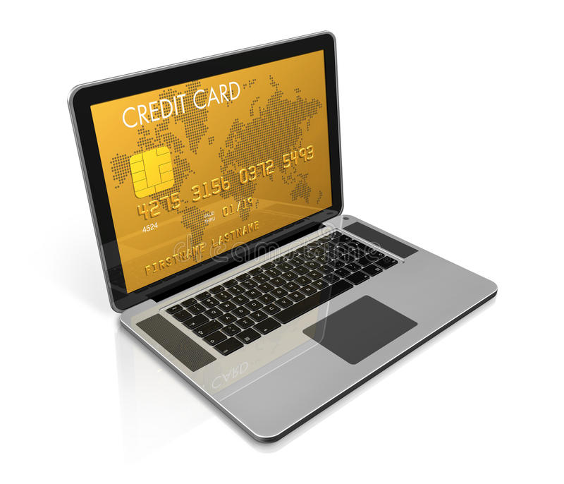 Cartão de crédito do ouro em uma tela do portátil ilustração stock