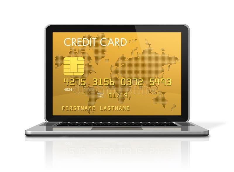 Cartão de crédito do ouro em uma tela do portátil ilustração royalty free
