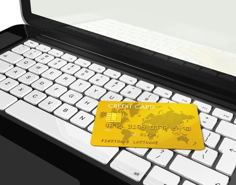 Cartão de crédito do ouro no portátil ilustração do vetor
