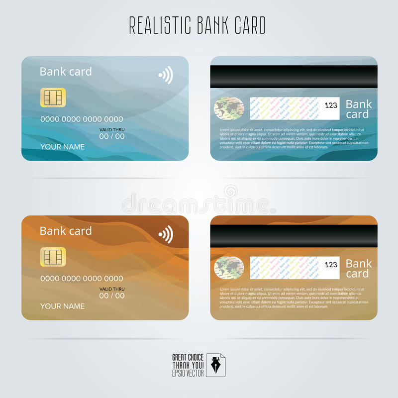 Cartão de crédito Dois lados Fundos coloridos da onda Vetor do molde ilustração stock