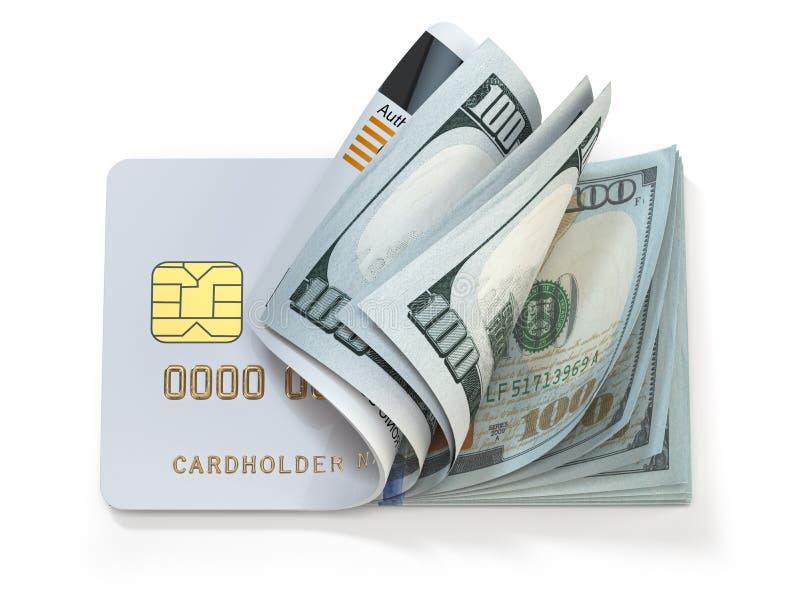 Cartão de crédito e dólar em numerário Setor bancário, conceito de compras Abertura de uma carteira ou conta bancária ilustração stock