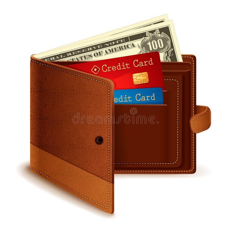 Cartão de crédito e nota do dólar na carteira ilustração stock