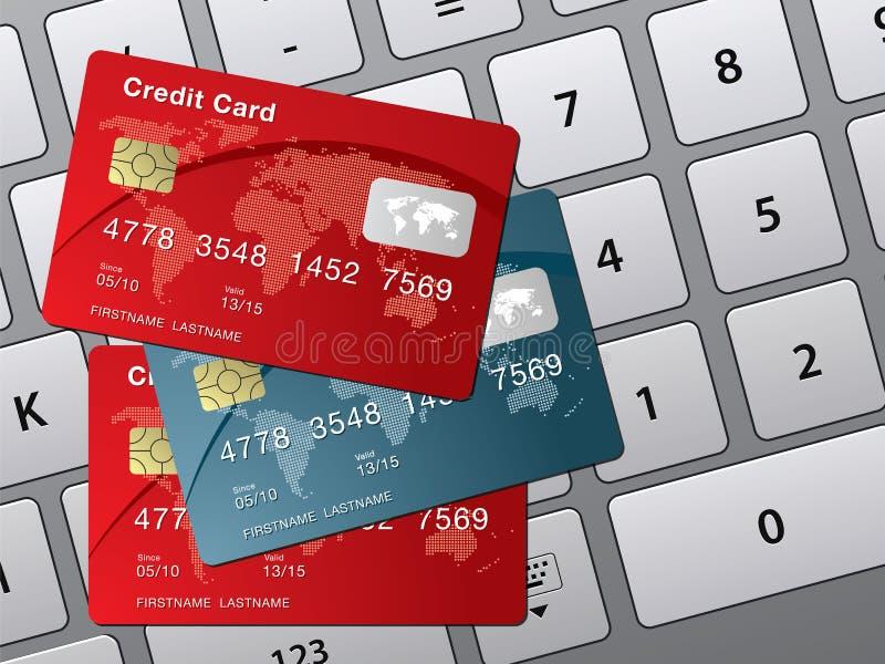 Cartão de crédito e teclado de computador ilustração do vetor