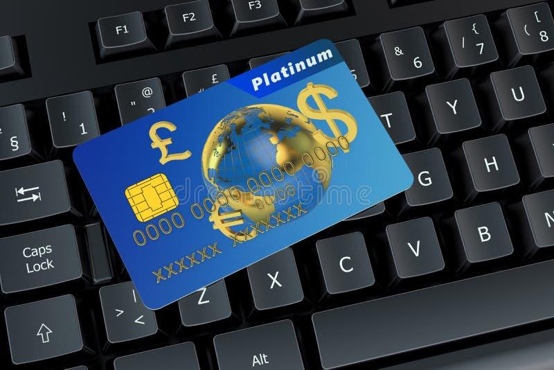 Cartão de crédito em um teclado de computador ilustração stock