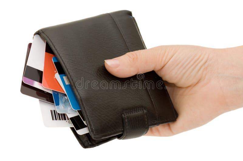 Cartão de crédito em uma bolsa imagem de stock royalty free