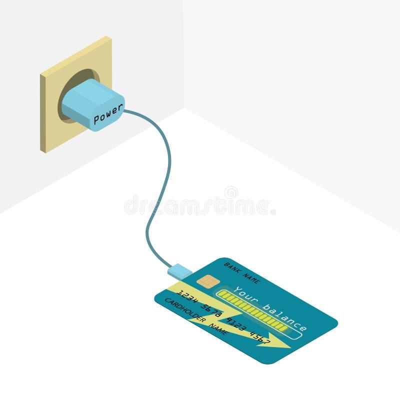 Cartão de crédito na carga ilustração stock