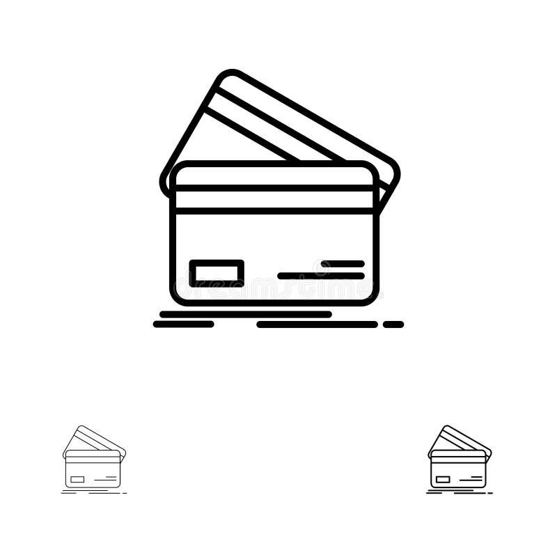 Cartão de crédito, negócio, cartões, cartão de crédito, finança, dinheiro, comprando linha preta corajosa e fina grupo do ícone ilustração royalty free