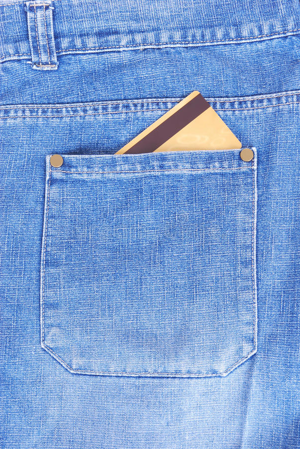 Cartão de crédito no bolso foto de stock