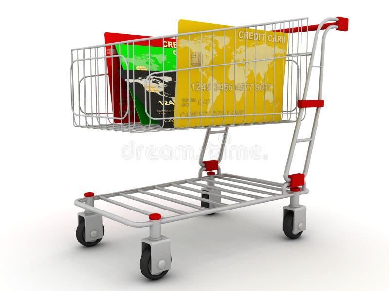 Cartão de crédito no carro de compra ilustração do vetor
