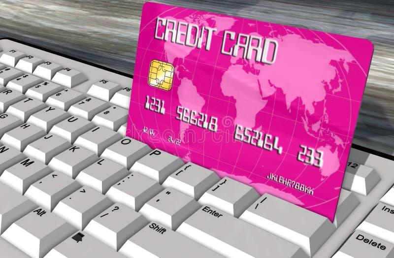Cartão de crédito no close up do teclado de computador ilustração stock