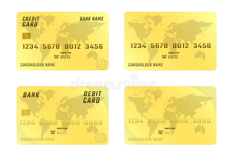 Cartão de crédito no fundo branco em quatro variações ilustração royalty free