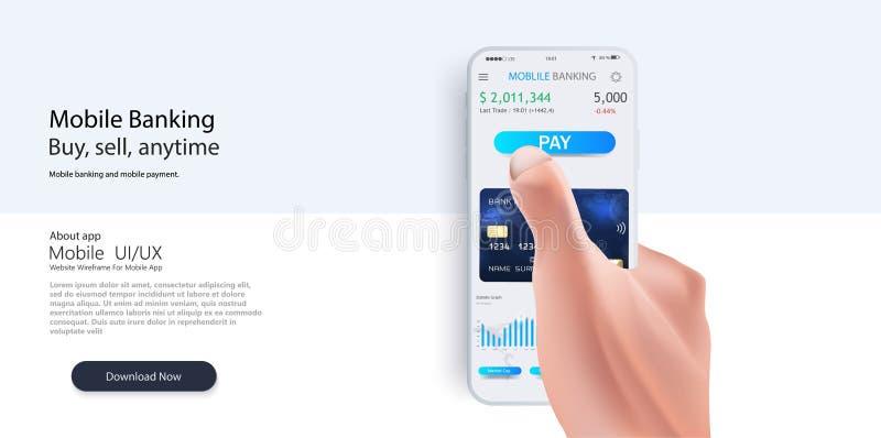 Cartão de crédito no smartphone Pagamento através do Internet ilustração royalty free