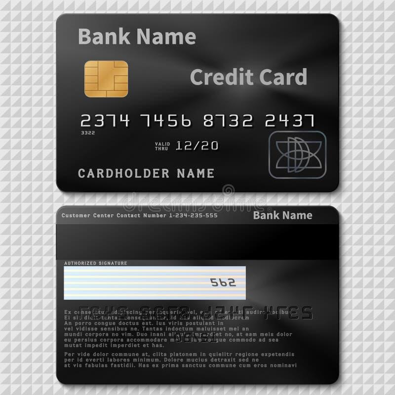 Cartão de crédito plástico do banco preto realístico com o molde do vetor da microplaqueta isolado ilustração stock