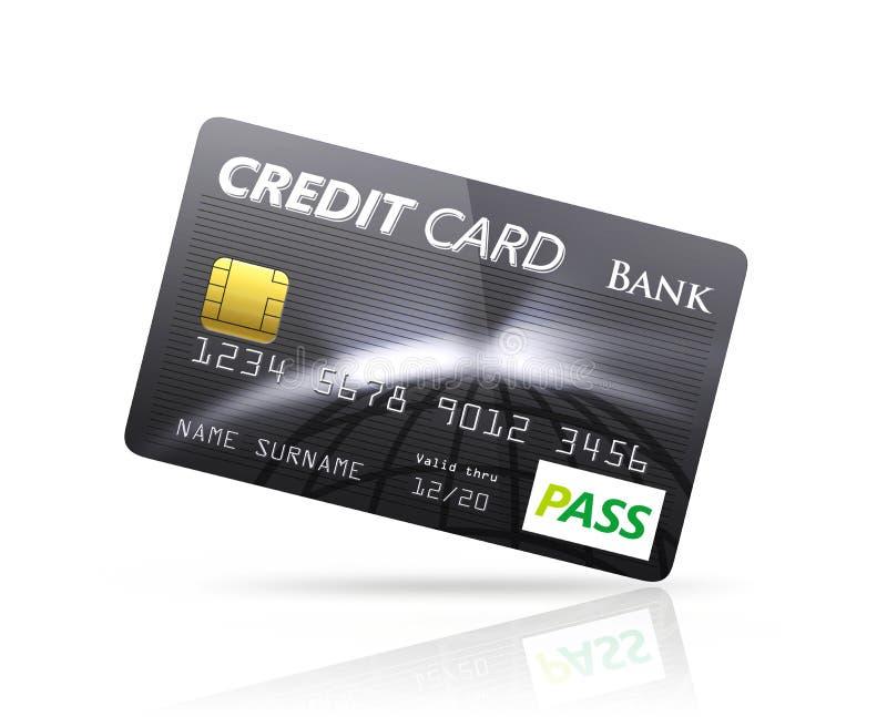 Cartão de crédito preto isolado no fundo branco ilustração stock