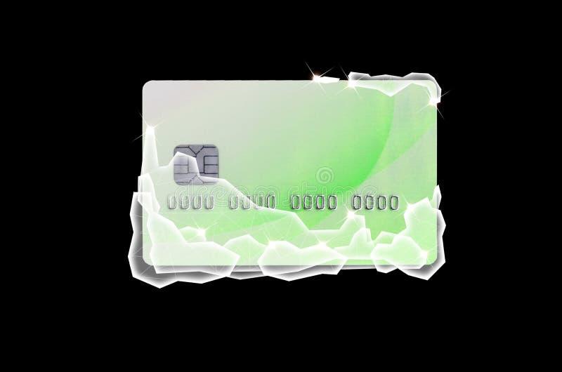 Cartão de crédito verde congelado nos blocos de gelo brancos ilustração royalty free