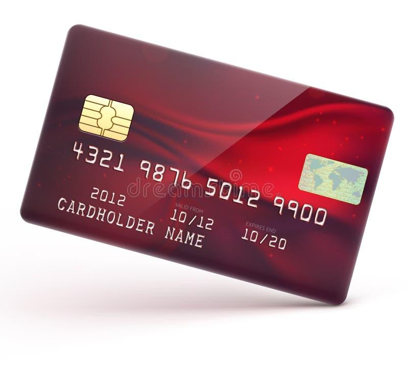 Cartão de crédito vermelho ilustração royalty free