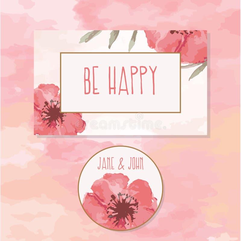 Cartão de cumprimentos colorido do convite com flores imagens de stock royalty free