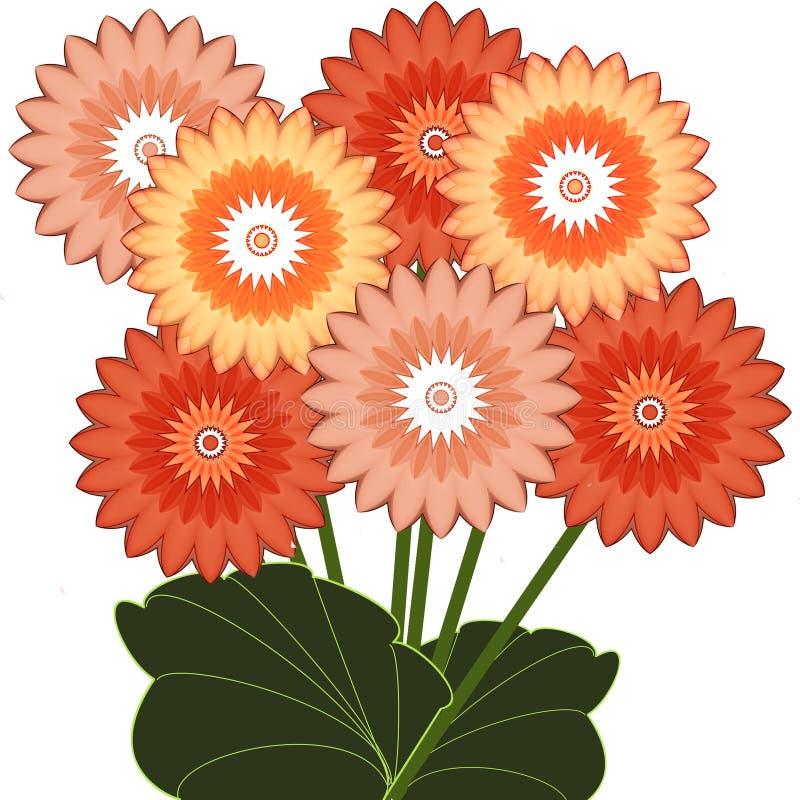 Cartão de cumprimentos com o ramalhete de flores do verão ilustração royalty free