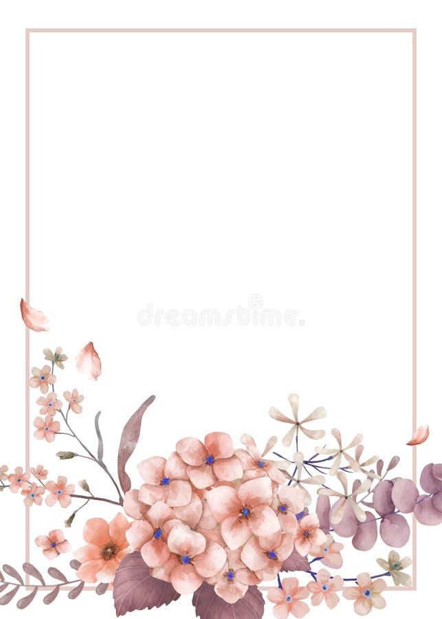 Cartão de cumprimentos com tema cor-de-rosa e floral ilustração do vetor