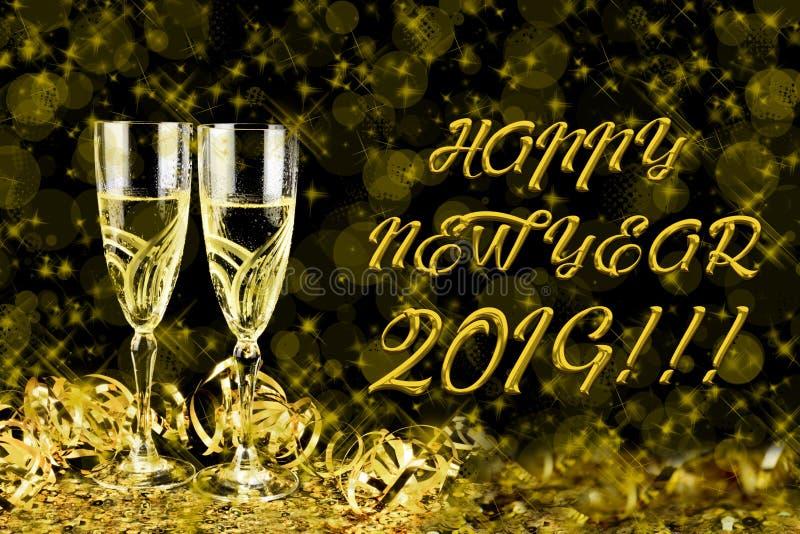 Cartão de cumprimentos do ano novo 2019 Bokeh e efeitos brilhantes no fundo preto imagem de stock royalty free