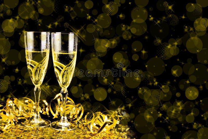 Cartão de cumprimentos do ano novo 2019 Bokeh e efeitos brilhantes no fundo preto imagens de stock royalty free