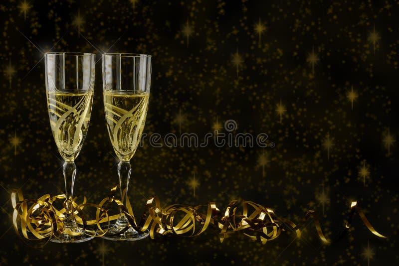 Cartão de cumprimentos do ano novo 2019 Bokeh e efeitos brilhantes no fundo preto fotografia de stock