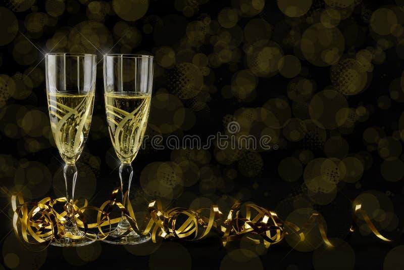 Cartão de cumprimentos do ano novo 2019 Bokeh e efeitos brilhantes no fundo preto fotos de stock royalty free