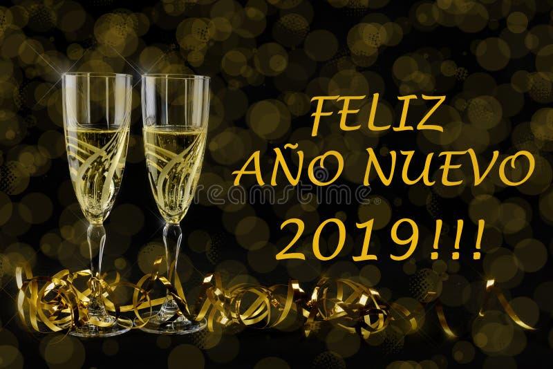 Cartão de cumprimentos do ano novo 2019 Bokeh e efeitos brilhantes no fundo preto imagens de stock