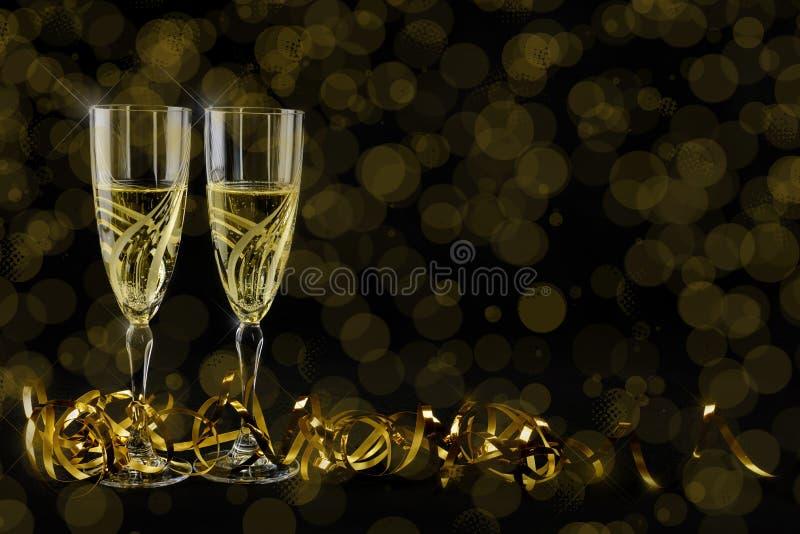 Cartão de cumprimentos do ano novo 2019 Bokeh e efeitos brilhantes no fundo preto foto de stock