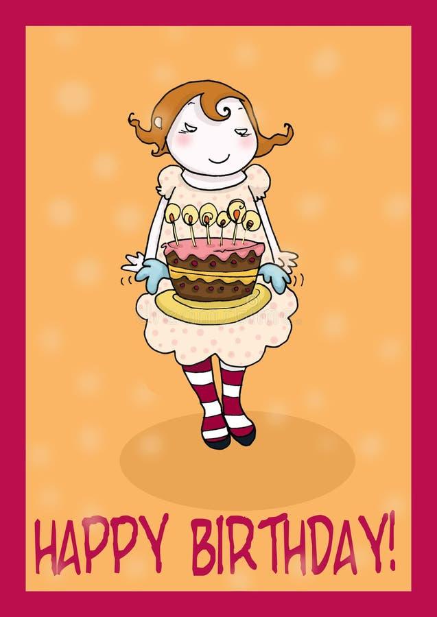 Cartão de cumprimentos do bolo do feliz aniversario ilustração royalty free
