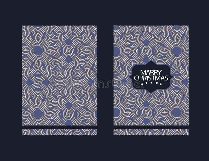 Cartão de cumprimentos do Feliz Natal com ornamento Cartão das felicitações dos feriados de inverno ilustração royalty free