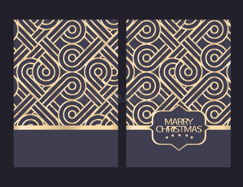 Cartão de cumprimentos do Feliz Natal com ornamento Feriados de inverno ilustração royalty free