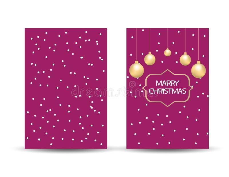 Cartão de cumprimentos do Feliz Natal com símbolos e eleme do Natal ilustração royalty free