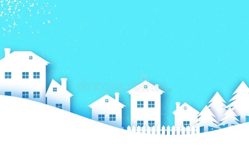 Cartão de cumprimentos do Feliz Natal e do ano novo feliz Vila da paisagem da neve do inverno do origâmi com céu azul Cidade urba ilustração royalty free