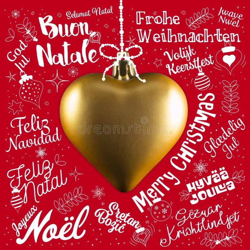 Cartão de cumprimentos do Feliz Natal do mundo em línguas diferentes fotos de stock royalty free