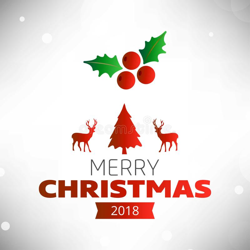 Cartão de cumprimentos do Natal com cherrie claro do Natal do fundo ilustração royalty free