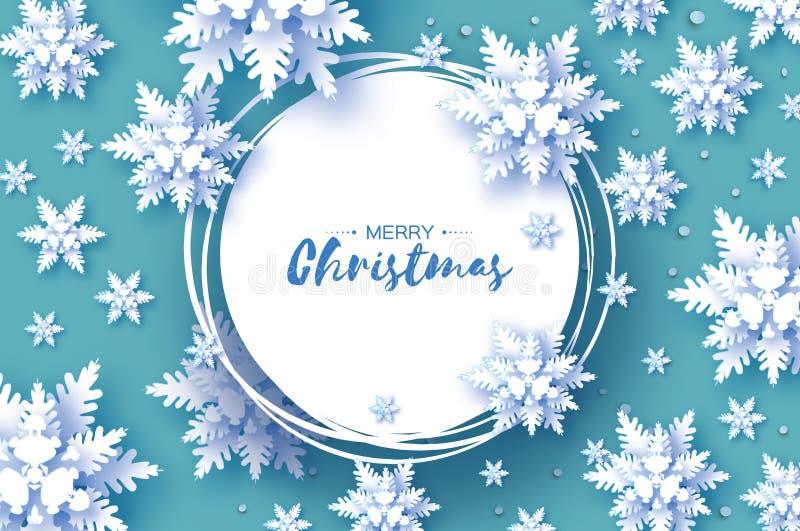 Cartão de cumprimentos do Natal do origâmi snowfall Floco da neve do corte do papel Ano novo feliz Fundo dos flocos de neve do in ilustração do vetor