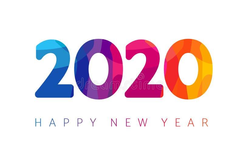 2020, cartão de cumprimentos do xmas do ano novo feliz ilustração stock