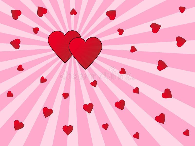 Cartão de cumprimentos dos corações ilustração royalty free