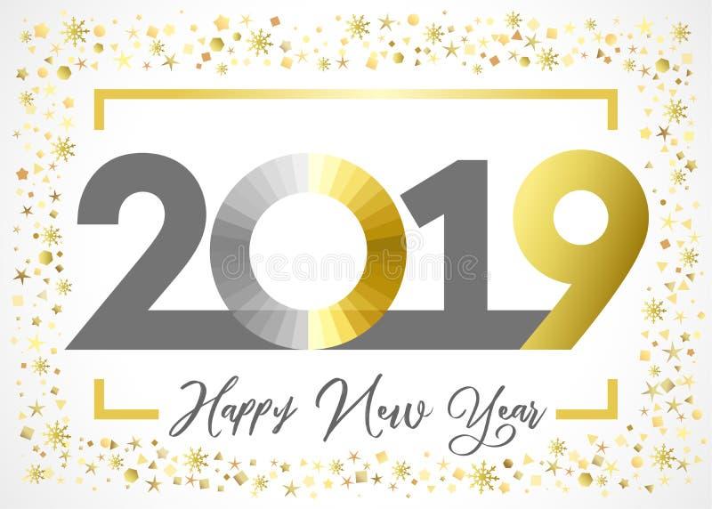 cartão de 2019 cumprimentos dourado do xmas do ano novo feliz do brilho ilustração royalty free