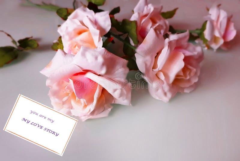Cartão de cumprimentos para o fundo floral das mulheres do dia das mulheres do Valentim do ramalhete das flores minhas citações d fotografia de stock royalty free