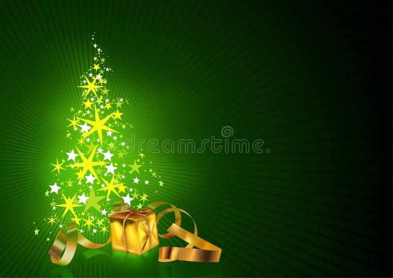 Cartão de cumprimentos verde do Natal ilustração stock
