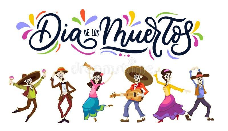 Cartão de Diâmetro de los Muertos para o dia dos mortos Cumprimento v ilustração do vetor