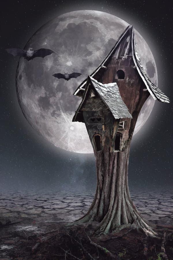 Cartão de Dia das Bruxas com a casa do ` s da Lua cheia e da bruxa ilustração royalty free
