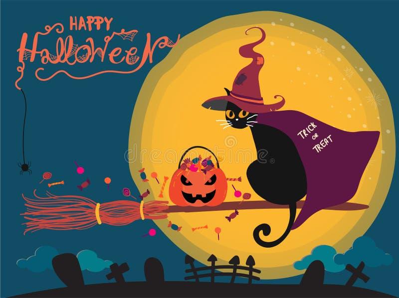 Cartão de Dia das Bruxas com equitação bonito do gato preto em uma vassoura de bruxa ilustração do vetor