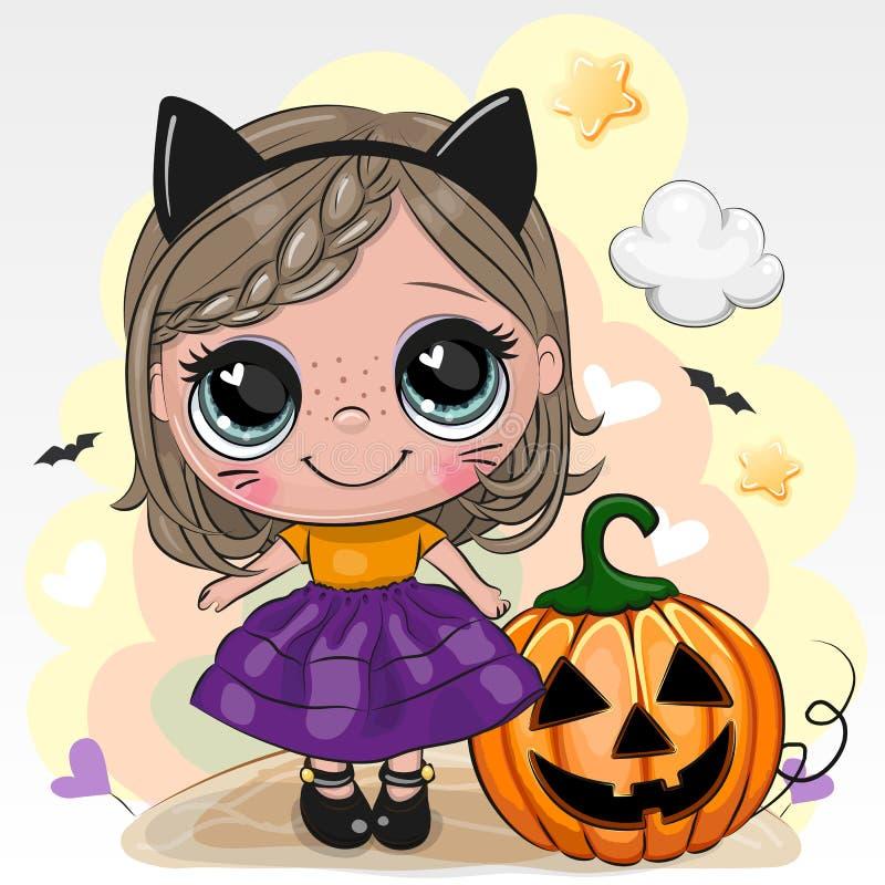 Cartão de Dia das Bruxas com a menina no gato de preto do cosume em um fundo amarelo ilustração royalty free